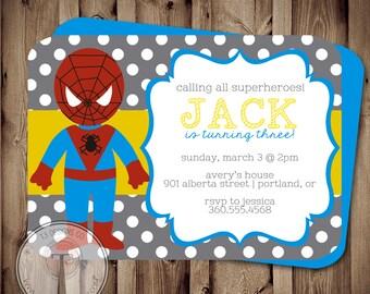 SUPERHERO Birthday Invitation (BIRTHDAY INVITATION) super hero birthday invitation, super heroes, superheroes birthday invite, spider hero