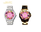 Personalized Stainless Steel Boyfriend Watch Sprinkle of Roses
