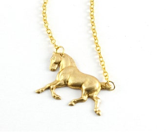 """Tiny Gold Horse Necklace, """"Giddy Up"""" Necklace"""