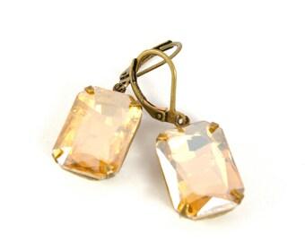 Vintage Topaz Earrings, Gold Champagne Vintage Rhinestone Earrings, Estate Style Earrings, Wedding Bridal Earrings