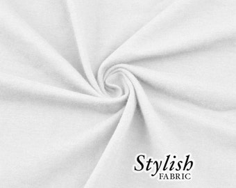White Cotton Lycra Jersey Knit Fabric Combed 7oz by the Yard Cotton Stretch Jersey Knit by the yard - 1 Yard Style 477