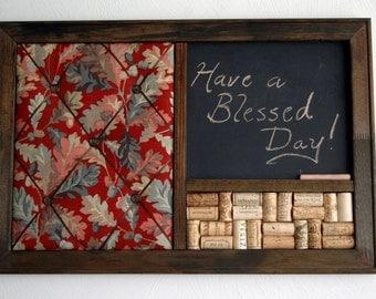 Autumn Decor French Memo Board, Wine Corkboard & Chalkboard Kitchen Wall Organizer