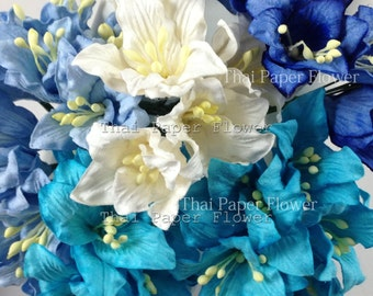 25 Blue White Lily Wedding Paper flower scrapbook card making home decor craft supply 607LY1