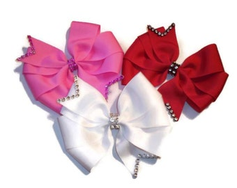 Set of 3 Rhinestone Trimmed Pinwheel Bows (Red, Pink, and White)