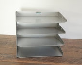 Midcentury Four-Tier Industrial File Organizer Paper Tray by LIT-NING Products Co.