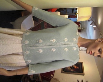 Vintage Sea Foam Green Wool Beaded Cardigan Sweater, ca 1950s