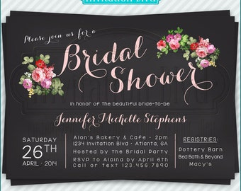 Bridal Shower Invitation, Wedding Shower Invitations - Chalkboard Florals Bridal Shower Invitation - Printable Bridal Shower Invitation