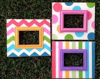 set of three rainbow 5x7 distressed frames ~polka dot, chevron & stripe multi color