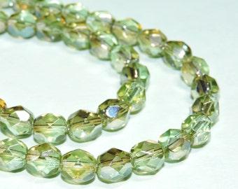 25 Chrysolite Beads 20% Off 6mm Faceted Transparent Czech Glass