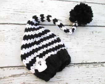 Halloween Black & White Elf Hat Baby Photography Prop / Size 0-12 months / Ghost Newborn Photo Prop