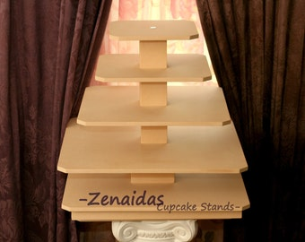 Cupcake Stand 5 Tier Square with Threaded Rod MDF Wood 100 Cupcake Tower Display Stand  Wedding Stand Birthday Stand DIY Project
