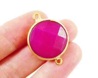 22mm Hot Violet Pink Faceted Jade Connector- Gold plated Bezel - 1pc