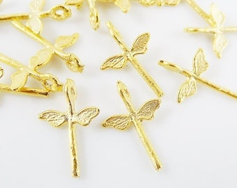 15 Mini Rustic Dragonfly Charms - 22k Matte Gold Plated Brass