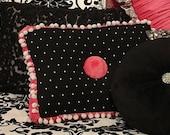 12x16 Black Boudoir Pillow with White Polka Dots