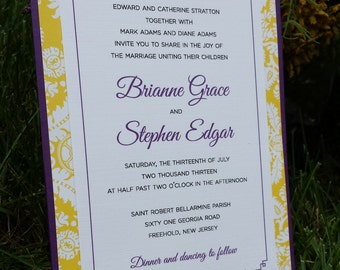 Pocket Card Invitation with Brocade Pattern
