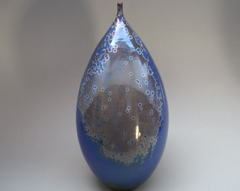 Crystal glazed Spanish studio vase