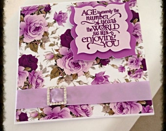 Floral Card with Rhinestones