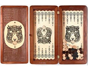 """20"""" HQ Handcarved wooden BACKGAMMON board with TIGER"""