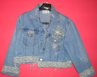 Beautiful Blue Denm Silver Metallic Trim Cropped Distressed Jacket With Silver Brooch Party Club Casual Evening