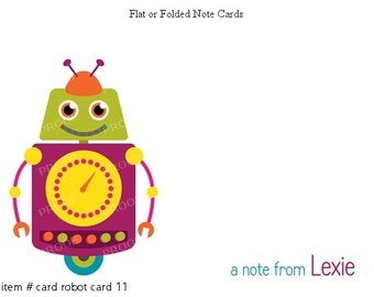 Robot Note Cards Set of 10 personalized flat or folded cards