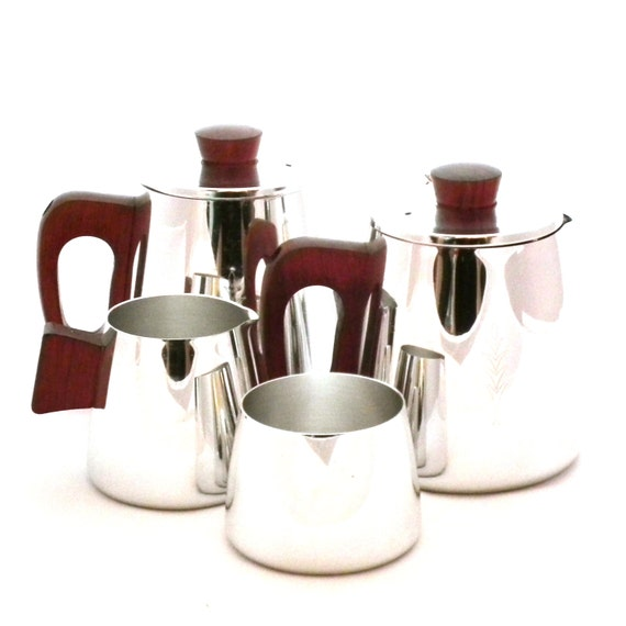 Glass And Stainless Steel Sugar Bowl And Milk Jug