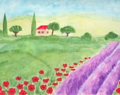ORIGINAL   Abstract Watercolor  Painting   Lavender and Poppies in Tuscany  Contemporary  Art   Modern  Flowers