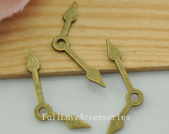 20pcs Antique Brass Clock Hand Charms Pendant 15x28mm Clock Hands Charms Connector