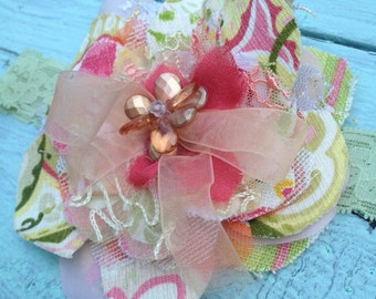 Orange, Green, Yellow, Fabric Flower Headband, Girls Headband, Flower Hair Clip, Baby, Toddler Girls, Orange Headband, Yellow Headband