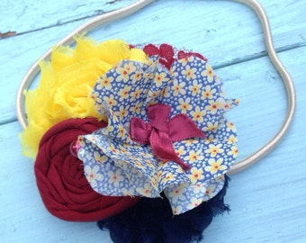 Navy Blue, Yellow, Burgundy Red, Fabric Flower Headband, Fabric Flower Hair Clip, Navy Headband, Burgundy Headband, Girls Headband, Women's