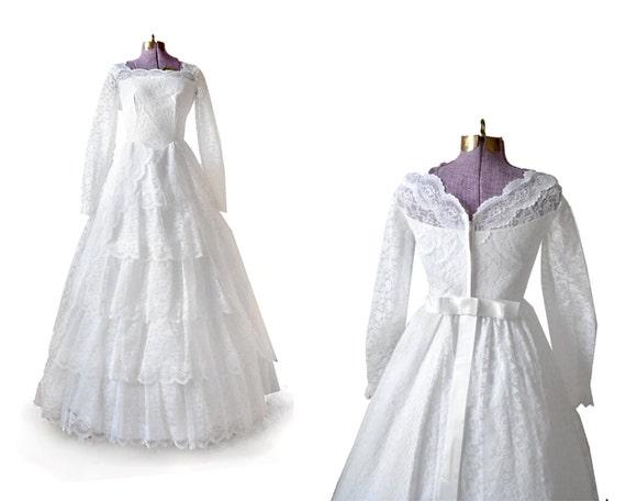1950s Wedding Dress / 50s Wedding Dress / White Wedding Dress