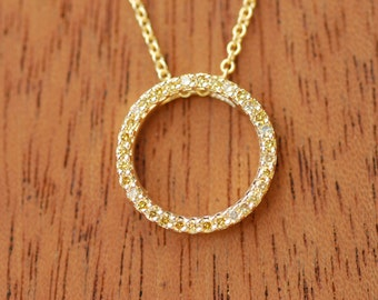 Natural Canary Diamonds Circle of Life Pendant 18k Yellow Gold Chain Included