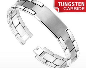 Quality Tungsten ID Bracelet Brushed Center - Free Engraving