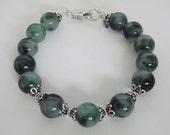 Striped Green Jade and Bali Silver Bracelet Bangle- Brangle