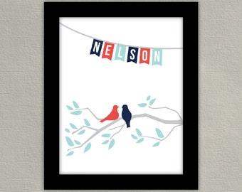 Home Decor Wall Art - Bird and Tree Print - Custom Family Sign - Wedding Gift - Bunting Banner Design