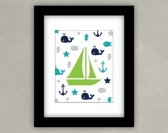 Nautical Sailboat Nursery Print - Baby boy art poster - Navy, Teal & Green