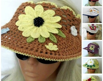 Crochet Sun Visor Summer Headband Brown With Sunflower