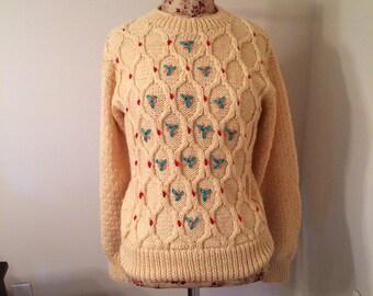 Vintage Knit Creamy Beige Dotted Sweater