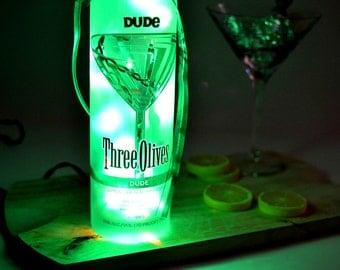 Three Olives Dude Vodka Light Up Liquor Bottle - Lighted Decorated Bottle / Lamp / Bar / Party / Night Light