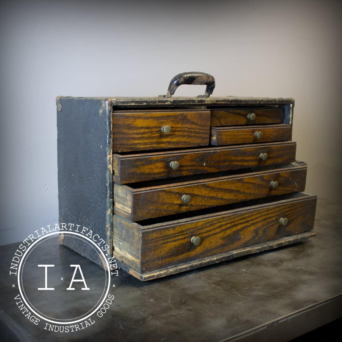Vintage Industrial Gerstner Antique Oak Tool Box Chest Parts