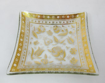 Glass Dish George Briard Glassware, Gold Trimmed Square Glass Plate Persian Garden