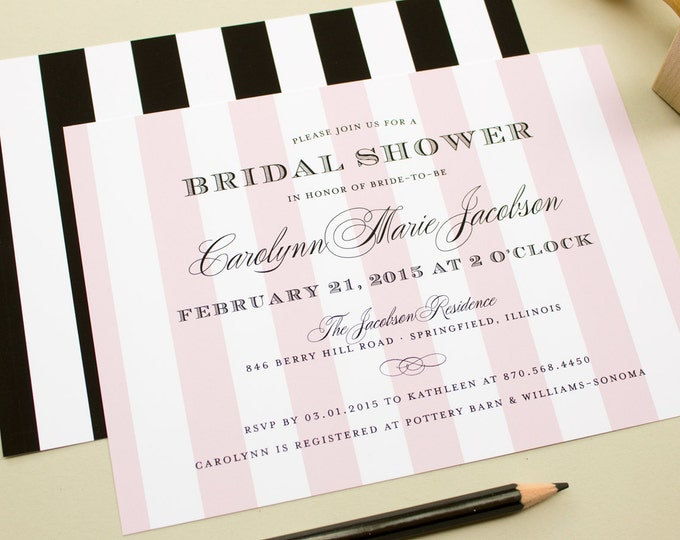 Striped Bridal Shower Invitations, Formal Wedding Shower Invite, Parisian Theme Party - Sweet Stripes
