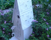 Shabby Chic Cottage Birdhouse, Tin Roof, Handcrafted