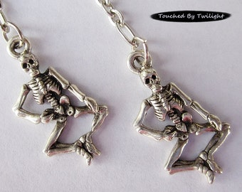 Dancing Skeleton Earrings - Antique Silverplate with Sterling Silver Earwires