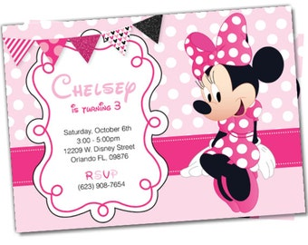 Minnie Mouse invitations, Minnie Mouse Party Package, Minnie Party, Minnie Invitation, Minnie invite, Minnie Mouse Package (M5)