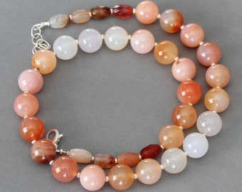 Orange Peach Cream White Agate Necklace. Ombre Modern Necklace. Mother's Day Gift for her .925 Sterling silver, Chunky large Summer stones.