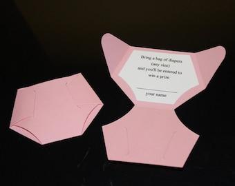 25 Diaper shaped Diaper Raffle Ticket Invitation
