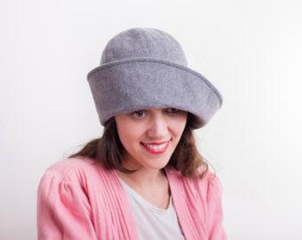 Light grey winter hat woolen tweed cloche women hat vintage style / handmade hat / Retro hat for her