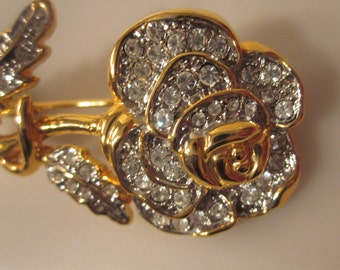 Vintage White Rose Brooch Studded White Rhinestones In Gold Toned Setting