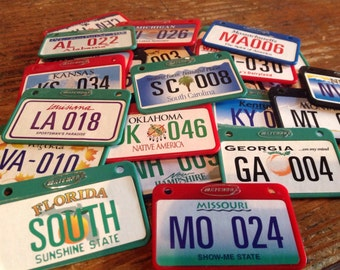 "SALE...your choice of one mini LICENSE PLATES Matchbox ""Across America"" series"