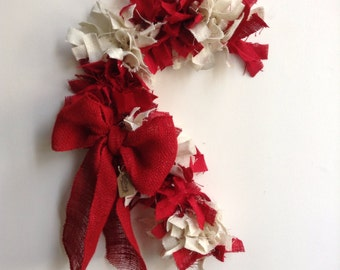 Candy Cane Wreath, burlap Christmas Wreath,  Red and White Wreath, Red Wreath, White Wreath, Holiday Wreath
